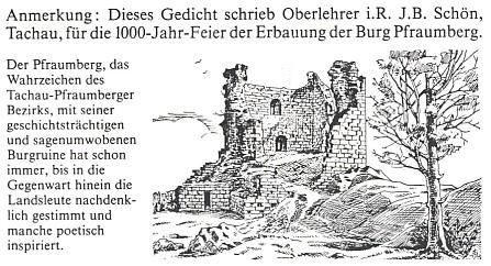 Hrad Přimda s textem týkajícím se Schönovy básně...