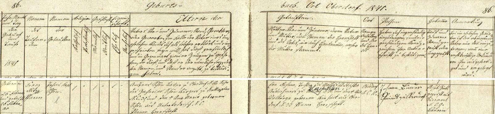 Narodil se podle tohoto záznamu křestní matriky farní obce Trstěnice (Neudorf) 26. února 1841 (ještě téhož dne byl v trstěnickém farním kostele sv. Víta i pokřtěn) v Horní Vsi (Oberdorf) na stavení čp. 10, kde hospodařil jeho otec Andreas Schön, syn měšťana v Chodové Plané (Kuttenplan) čp. 31 Zachariase Schöna a jeho ženy Anny Marie, roz. Schönové z Dolní Jadruže (Unterkodrisch), se svou ženou a novorozencovou matkou Ewou Rosinou, dcerou Matthäuse Wutschka, výminkáře ve Skelných Hutích (Glashütten) a Anny Walburgy, roz. Binhackové z Horní Vsi čp. 33