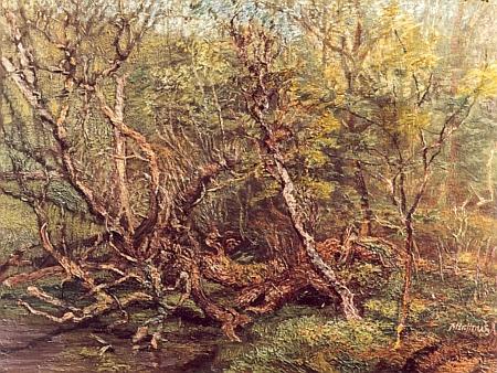 Bažina v okolí obce Velká Hleďsebe, kde Schön rovněž učil, na obraze Miroslava Houště, vzniklém někdy kolem roku 1990
