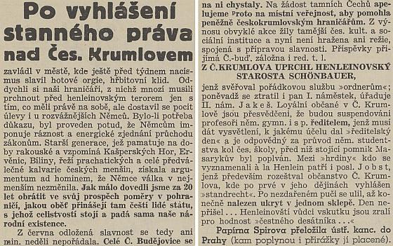 Dramatické zpravodajské sdělení českobudějovického listu ze zářijových dnů osudného roku 1938