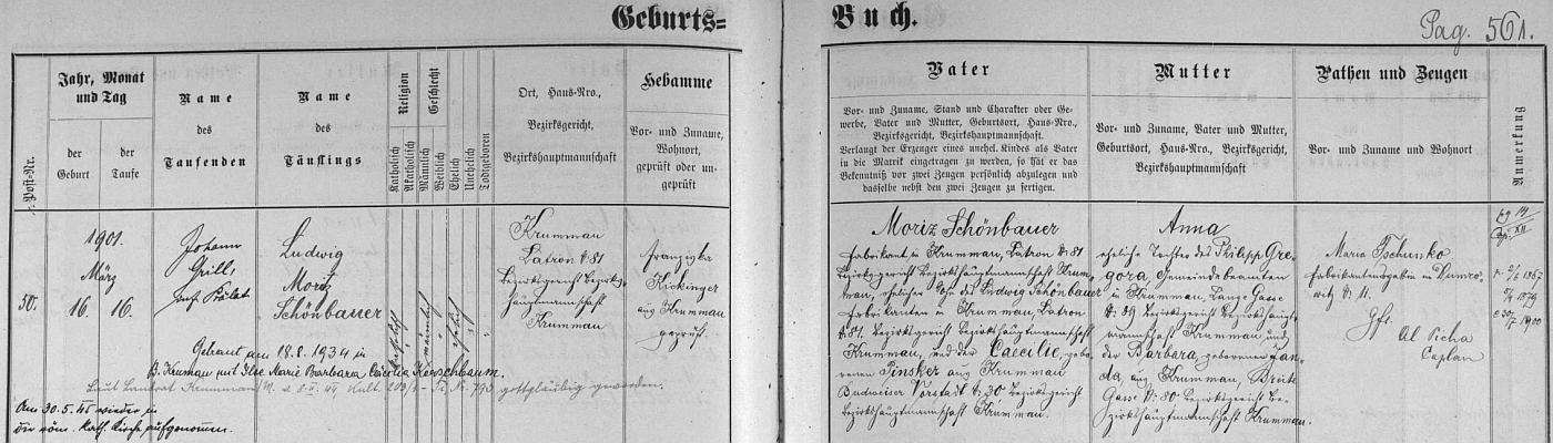 Záznam o jeho narození v českokrumlovské křestní matrice