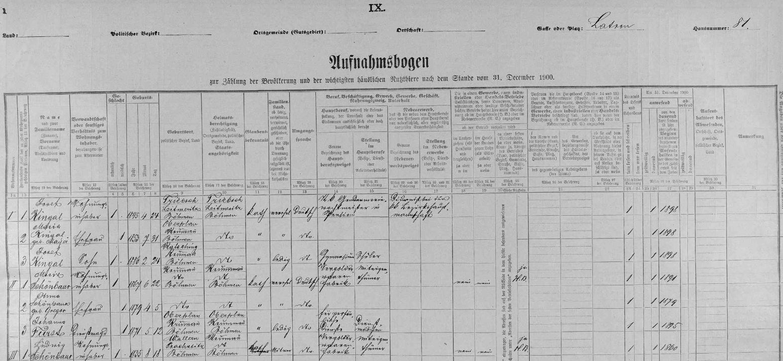 """Arch sčítání lidu z roku 1900, tedy rok před jeho narozením, pro dům čp. 81 na českokrumlovslém Latráně, kde žili jeho rodiče Moriz a Anna i dědeček Ludwig """"starší"""", všichni ještě s příjmením psaným """"Schönbaur"""""""