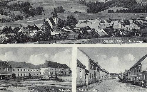 """Tato pohlednice z roku 1940 označuje Horní Dvořiště jako příslušející k """"Sudetské župě"""""""