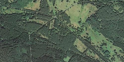 Zadní Chalupy na leteckých snímcích z let 1949 a 2008