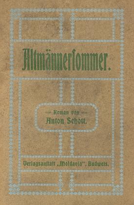 """Obálka (1927) románu (česky by zněl jeho název """"Babí léto""""), který vydal vČeských Budějovicích v nakladatelství """"Moldavia"""""""