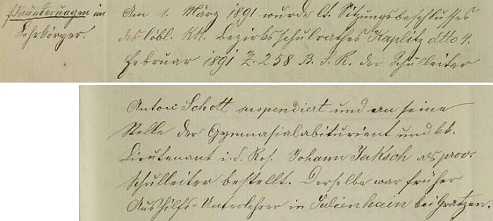 Záznam z roku 1891 o jeho suspendování z tohoto místa