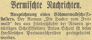"""Zpráva českobudějovického německého listu o jeho vyznamenání Herderovou cenou za román """"Die Hacker vom Freiwald"""" roku 1923"""