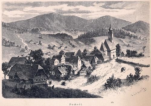 """Pohoří na Šumavě někdy v dobách, kdy tu působil, zachycené kresbou Vojtěcha Brechlera (signatura """"RYT.BARTEL"""" označuje jméno rytce Františka Bartela)"""