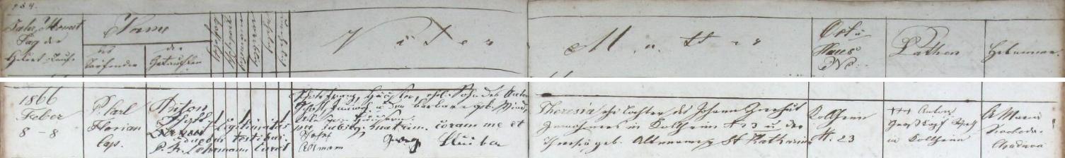 Záznam nýrské křestní matriky o jeho narození 8. února roku 1866 v Uhlišti (Kohlheim) čp. 23 svobodné matce Theresii Zierhutové, dceři Johanna Zierhuta, podruha v Uhlišti čp. 23, a Theresie, roz. Altmannové zeSvaté Kateřiny (Sankt Katharina) - jako manželské bylo dítě, pokřtěné původně jménem Anton Zierhut, legitimizováno až sňatkem chalupníka ze Zadních Chalup Franze Schotta, syna Antona Schotta a Barbary, roz.Windové ze Zadních Chalup sTheresií Zierhutovou