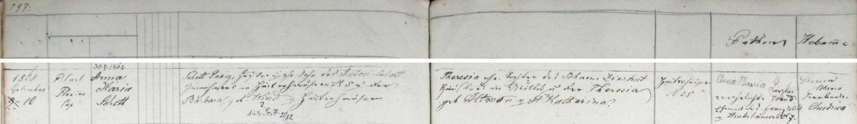 Tady nýrská křestní matrika zaznamenává narození jeho sestry Anny Marie dne 10. září roku 1868 v Zadních Chalupách čp. 25 zřejmě už sezdaným rodičům Franzi a Theresii Schottovým