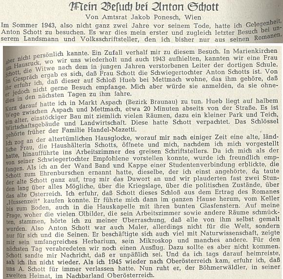 Vzpomínka na něj z léta 1943 na stránkách krajanského časopisu
