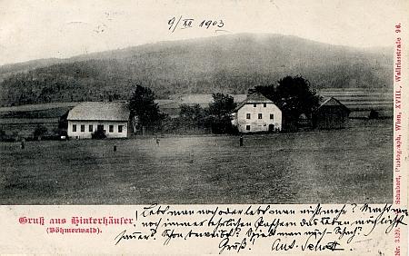 Vzácný exemplář pohlednice ze Zadních Chalup se Schottovým vlastním pozdravem a s datem 9. prosince roku 1903