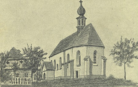 Kostelík sv. Linharta v Uhlišti na jeho kresbě tužkou