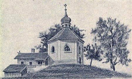 Kostelík Nejsvětější Trojice v Bystřici u Nýrska nad Úhlavou, jak jej podobně zachytil