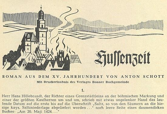 Záhlaví jeho románu z časů husitských válek, který otiskoval v šedesátých letech dvacátého století časopis Glaube und Heimat na pokračování