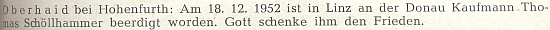 Zpráva o úmrtí jeho strýce Thomase Schöllhammera, u něhož se kdysi vyučil obschodnické živnosti, na stránkách krajanského časopisu
