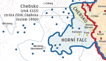 Širší Chebsko s městem Bärnau (Bernov) na mapách českého státu za vlády Karla IV.