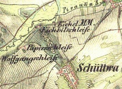 Šitboř na staré mapě s polohou někdejších brusíren při řece Pivoňce