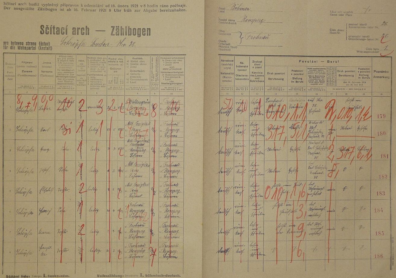 Arch sčítání lidu z roku 1921 pro stavení čp. 28 ve Vranově i s Karlem Schröpferem