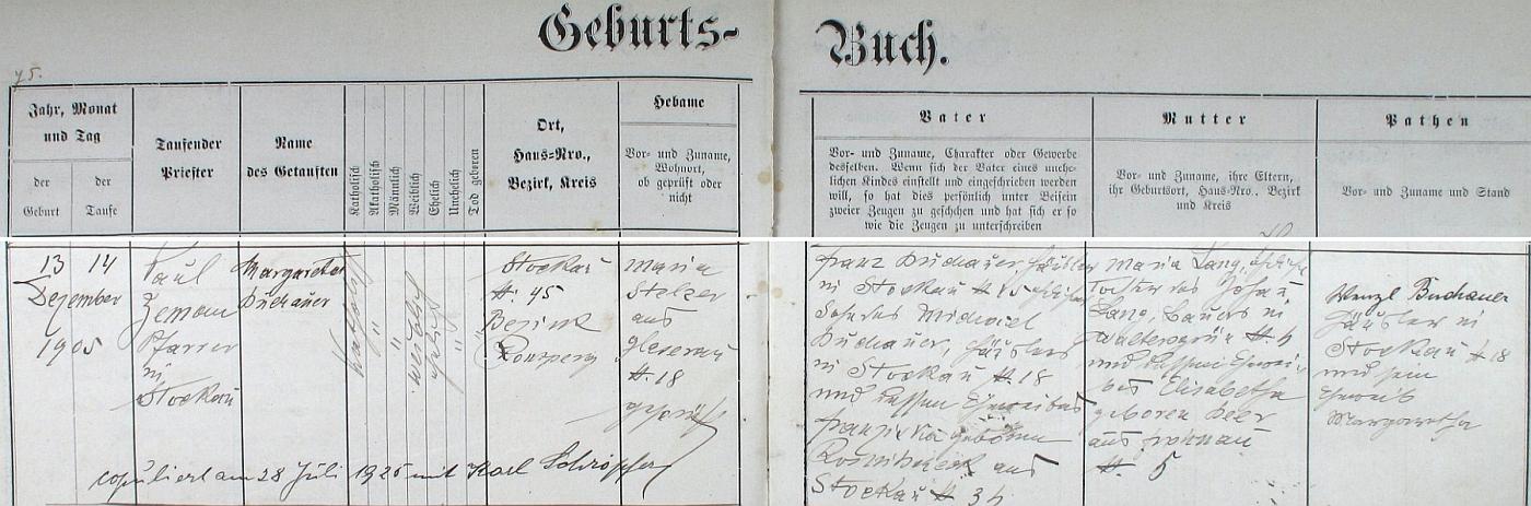Záznam o narození Margarethy Buchauerové, budoucí ženy Karla Schröpfera, v křestní matrice farní obce Pivoň