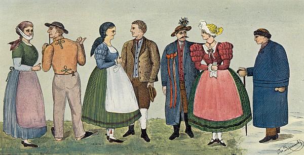 """Barevná """"tabule I."""" z knihy Der Böhmerwaldbauer s jeho podpisem zachycuje podoby prášilského lidového kroje kolem roku 1850"""