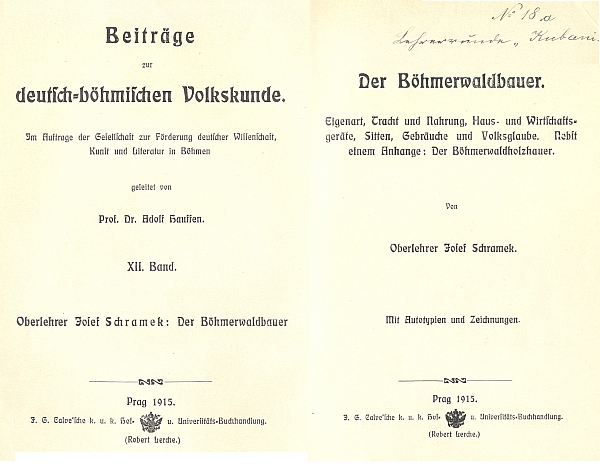 """Vazba a titulní list (1915), na němž je zachováno i označení někdejšího majitele, tj. """"učitelského kruhu Boubín"""", německy """"Lehrerunde Kubani""""; knihu vydal v Praze J. G. Calve"""