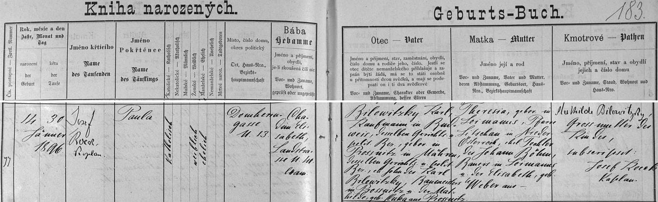 Záznam o narození jeho ženy v českobudějovické křestní matrice