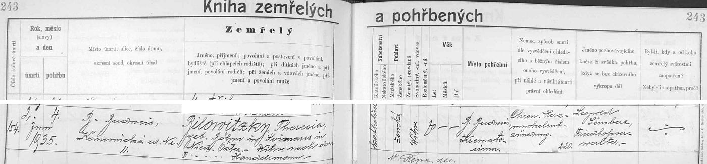 Záznam českobudějovické matriky o úmrtí manželčiny matky