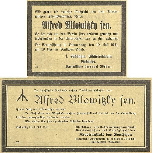 "Hned dvojí parte Alfreda Bilowitzkyho ""seniora"" se v roce 1941 objevilo na stránkách Budweiser Zeitung"