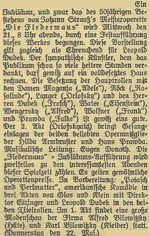 """Kožešnická a oděvní firma Bilowitzkych už v roce 1924 předvedly své zboží na módní přehlídce, zakomponované do 1. jednání Straussovy operety """"Netopýr"""" v roce jejího 50.jubilea"""