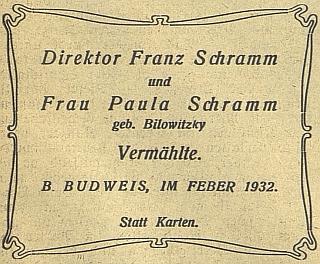 Svatební oznámení v českobudějovickém německém listě