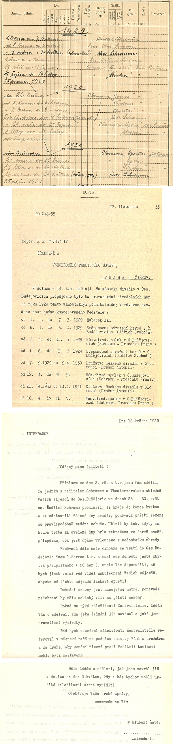 Archivní dokumenty k jeho českobudějovickému divadelnímu působení