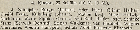 V seznamu cvičné školy německého učitelského ústavu v Českých Budějovicích nacházíme roku 1933 ve výčtu žáků a žákyň 4. třídy na konci jméno jeho dcery Elisabeth z prvního manželství, ročník narození 1923...