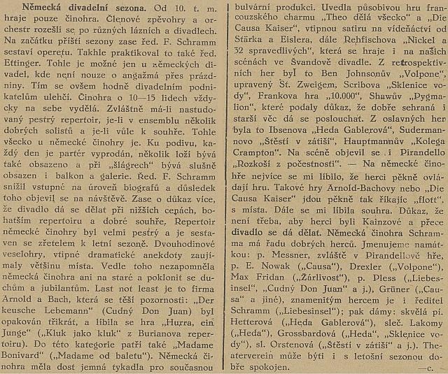 Pochvalný článek Bedřicha Borovce v listu Republikán