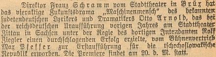 Zpráva ve vídeňském tisku dokládající jeho souběžné působení vdivadlevMostě