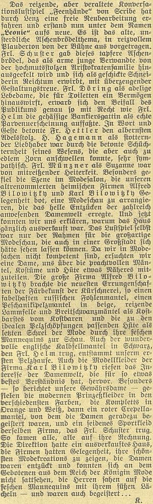 """Takto obsáhle referoval recenzent Budweiser Zeitung (pravděpodobně Alfred Krogner) o""""provokativní"""" (""""reizende"""" lze přeložitipřímočařeji) veselohře, jejíž součástí byla opět módní přehlídka firem Alfred Bilowitzky aKarl Bilowitzky"""