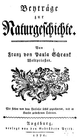 Titulní list (1776) jeho knihy Beyträge zur Naturgeschichte