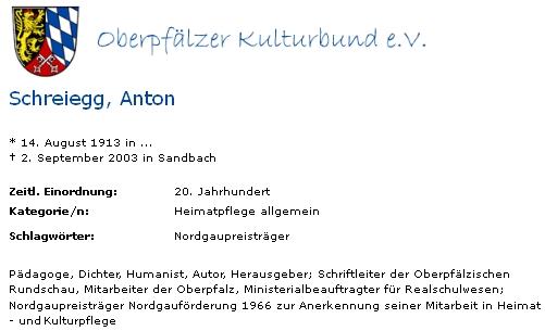 Záznam o něm na webových stránkách Oberpfälzer Kulturbund e.V.