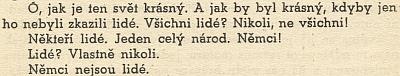 Čtyři snímky hradu Flossenbürg z knihy českého vězně zdejšího koncentračního tábora a závěrečná slova jeho vzpomínkového textu