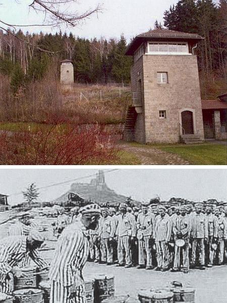 Památník ve Flossenbürgu a záběr z doby, kdy tu v pozadí se zříceninou hradu existoval koncentrační tábor