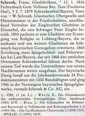 O Franzi Schrenkovi v biografickém slovníku českých zemí