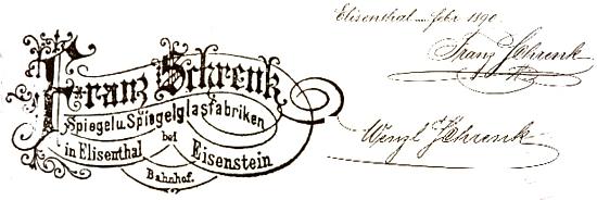 Razítko jeho firmy v Alžbětíně s podpisy jeho samého a syna Wenzla