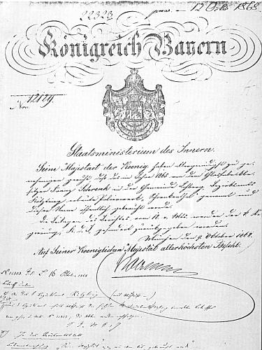 Propůjčení místního jména Schrenkenthal bavorským ministerstvem vnitra v roce 1868