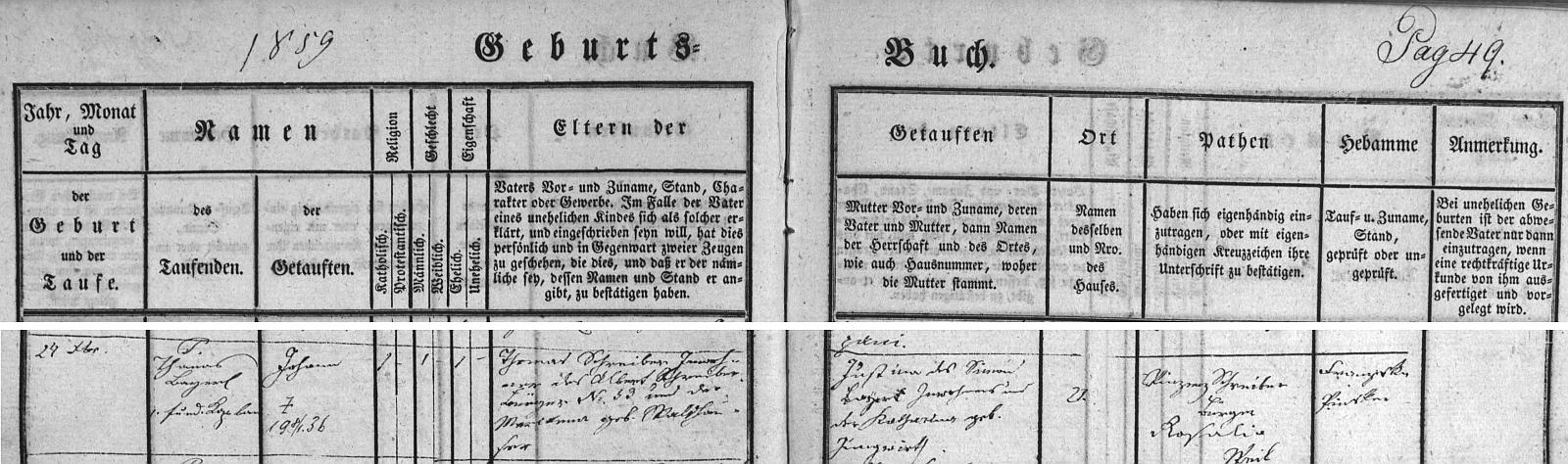 Záznam o jeho narození ve volarské křestní matrice s přípisem o úmrtí