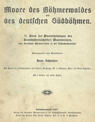 Obálka knihy (1924) vydané Deutscher Moorverein, Sebastiansberg