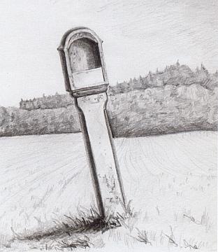 Boží muka volarského typu při cestě z Hojné Vody na kresbě Romana Lavičky podle stavu v padesátých letech a jejich torzo doplněné kamenným křížkem na snímku z roku 2008