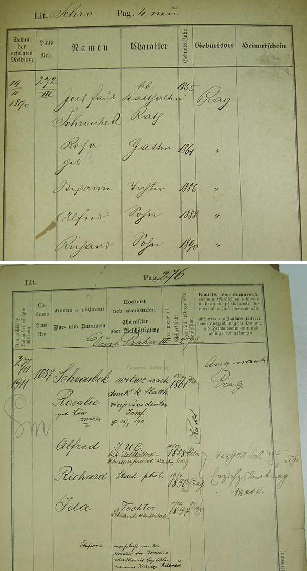 Dvě pobytové přihlášky pražského policejního ředitelství na jméno jeho děda, místodržitelského rady Josefa Paula Schroubeka a vdovy po něm Rosálie, roz. Löwové - jedním z jejich čtyř dětí byl i Richard Schroubek, Georgův otec