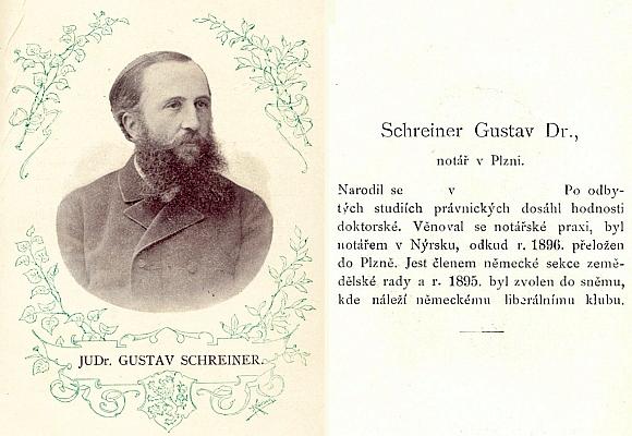 Podobizna a medailon JUDr. Gustava Schreinera v Almanachu sněmu království      Českého 1895-1901, kde chybí data jeho narození (viz i Günther Burkon)