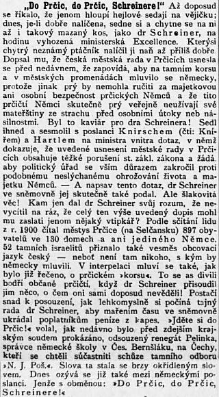 Za tento odstavec stál Schreiner bojovnému českobudějovickému listu v roce 1911