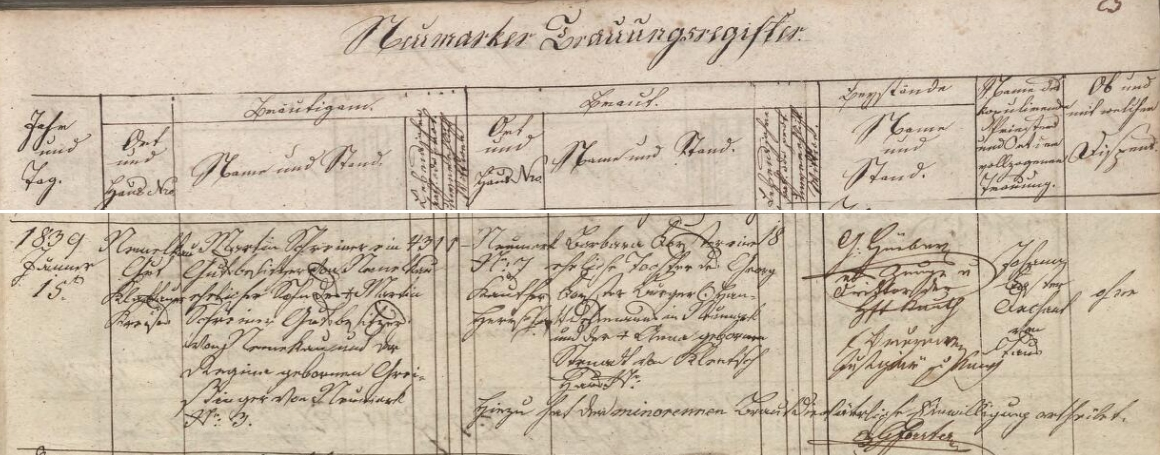 Záznam všerubské oddací matriky o svatbě jeho rodičů